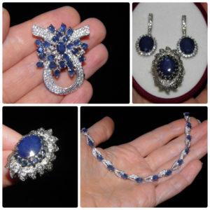 Сапфировые украшения из серебра
