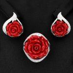 """комплект из серебра """"красная роза"""""""