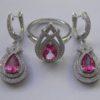 серебряный набор с розовым топазом