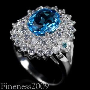 серебряное кольцо с топазом swiss blue
