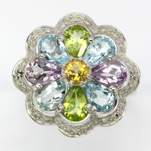 серебряное кольцо с мультикамнями