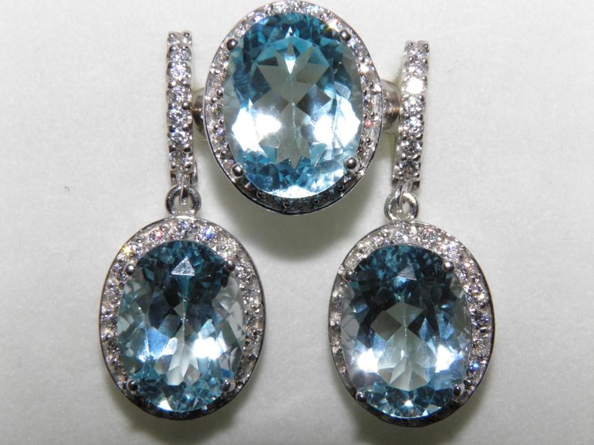 кольца из серебра с голубым топазом