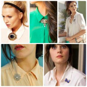 Варианты ношения броши на рубашке или блузе