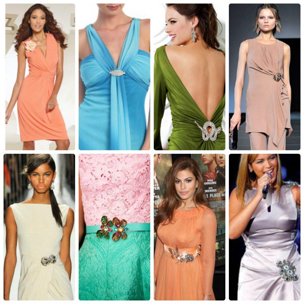 Варианты ношения броши на платьях