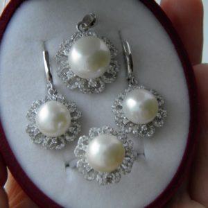 Жемчужный набор из серебра, гарнитур из серебра с жемчугом, комплект из серебра и жемчуга, серебряный комплект из жемчуга, набор украшений из жемчуга в серебре, купить жемчужные украшения, комплект украшений из жемчуга и серебра