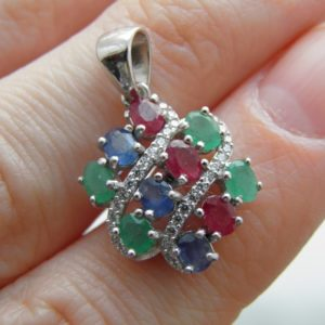 Серебряный кулон с драгоценными камнями, кулон из серебра с драгоценными камнями, серебряная подвеска с дракамнями, купить серебряный кулон с драгоценными камнями