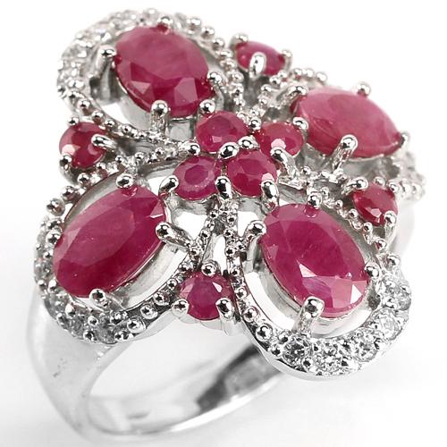 Рубиновое кольцо из серебра