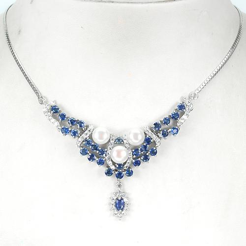 Ожерелье из серебра Жемчуг-Сапфир