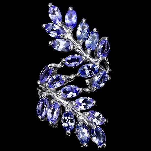 Кольцо из серебра с танзанитами