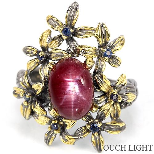 перстень из серебра с лучевым рубином