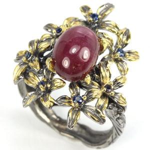 серебряное кольцо со звёздчатым рубином