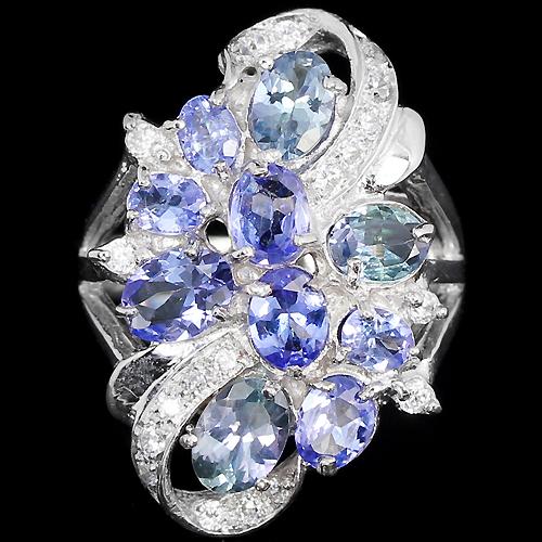 перстень из серебра с танзанитом