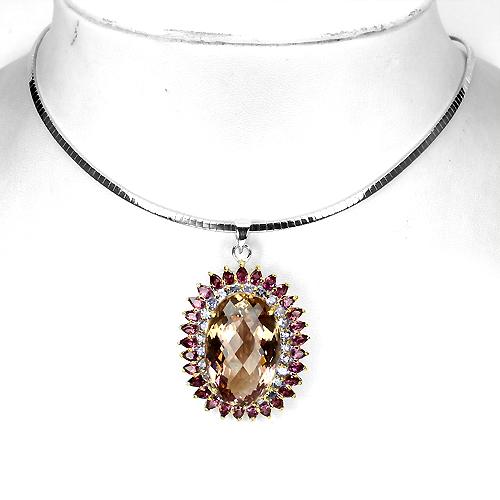 серебряное ожерелье Аметрин-Танзанит-Родолит