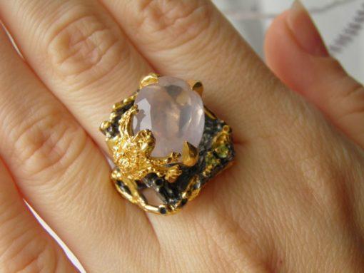 серебряные украшения с розовым кварцем в Украине