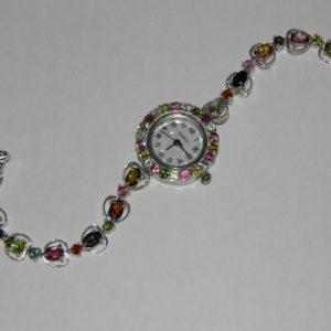 серебряные часы с натуральным турмалином