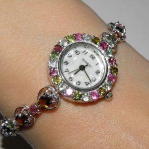 серебряные часы с натуральными турмалинами