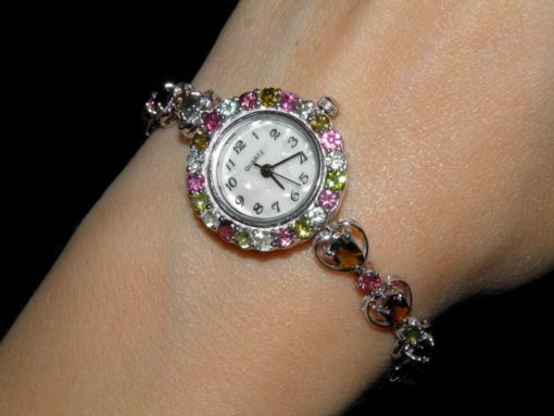 серебряные часы с турмалинами
