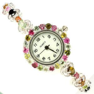 серебряные часы с природным турмалином