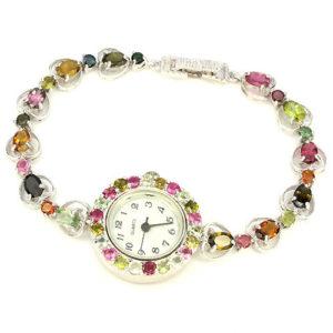часы из серебра с природным турмалином