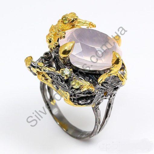 хэндмэйд серебряное кольцо с розовым кварцем