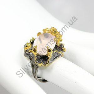 кольцо из серебра с натуральным розовым кварцем