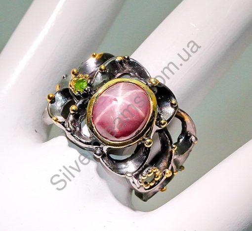 Кольцо из серебра со звёздчатым рубином