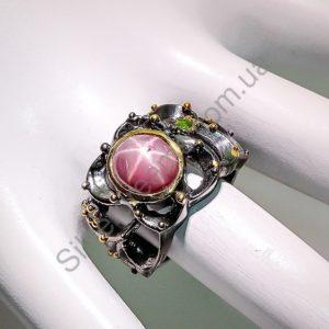 Серебряное кольцо с натуральным звёздчатым рубином