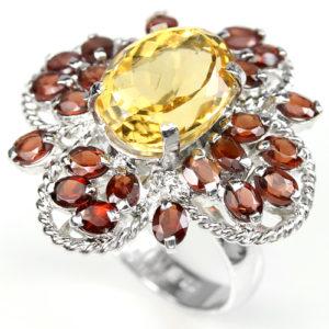 Серебряное кольцо Цитрин-Гранат