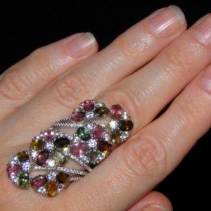 Коктейльное кольцо с турмалинами
