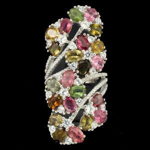 кольцо из серебра с турмалинами