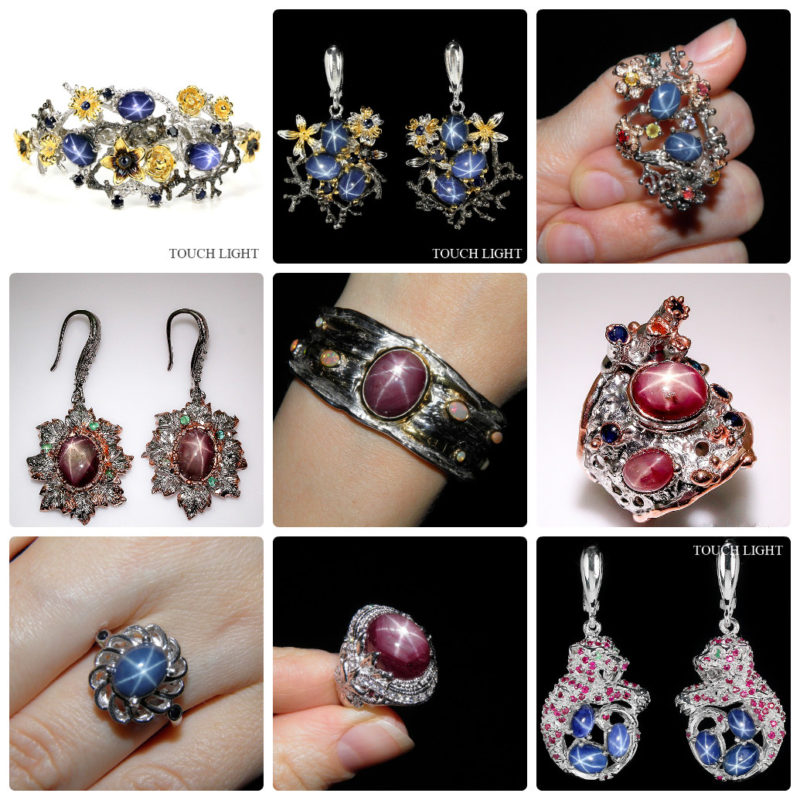 серебряные украшения со звёздчатым сапфиром/рубином от SilverDreams