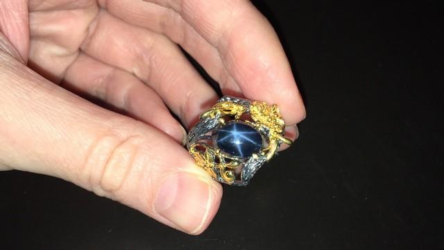кольцо со звёздчатым сапфиром