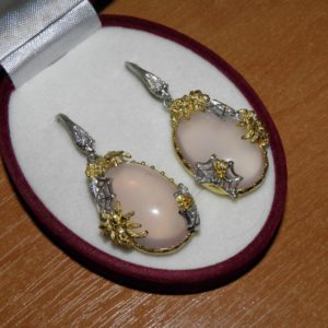 Серебряные серьги с розовым кварцем
