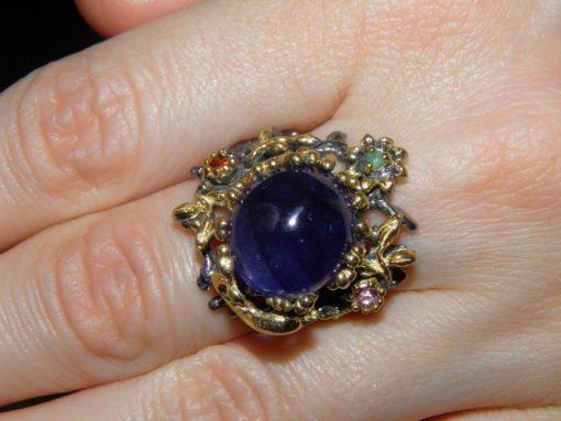 Серебряный перстень с гладким сапфиром