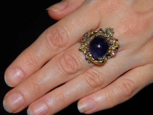 Серебряное кольцо с натуральным сапфиром