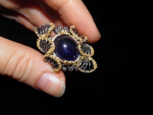 Уникальный серебряный перстень с натуральным сапфиром