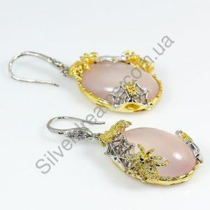 Серьги из серебра с натуральным розовым кварцем