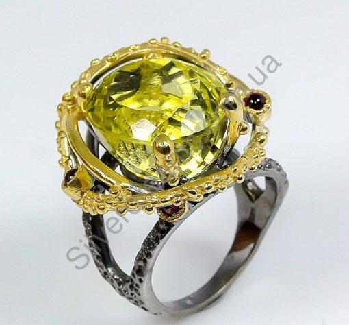 Серебряный перстень с крупным лимонным кварцем