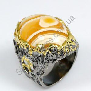 Серебряное кольцо ручной работы с натуральным агатом