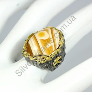 Крупный серебряный перстень с агатом