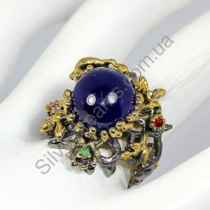 Серебряное кольцо ручной работы с гладким сапфиром