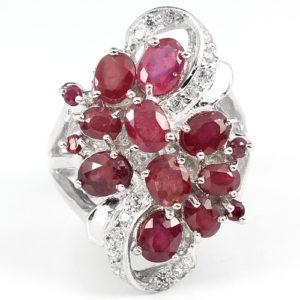 Серебряный перстень с рубинами