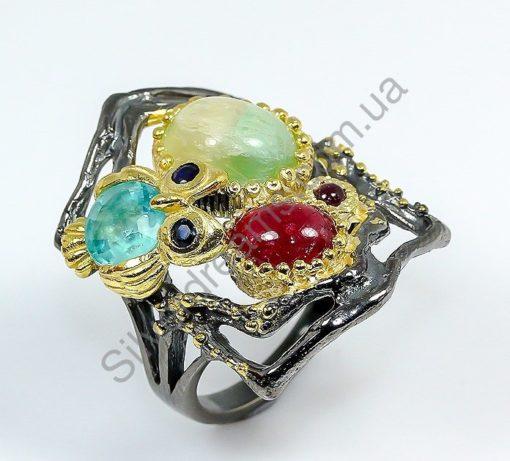 Серебряное кольцо ручной работы Флюорит-Апатит-Рубин