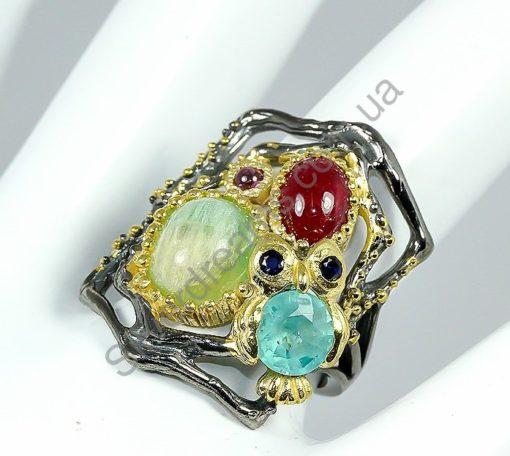 Серебряный перстень Флюорит-Апатит-Рубин