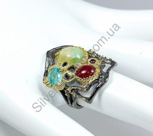 Серебряное кольцо Флюорит-Апатит-Рубин