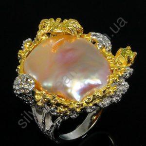 дизайнерское серебряное кольцо с барочным жемчугом