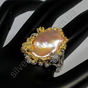 серебряный перстень с крупным барочным жемчугом