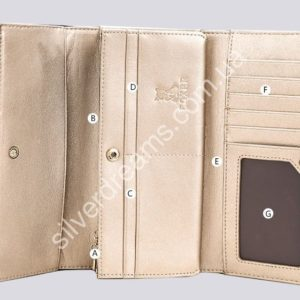 золотистый кожаный кошелёк