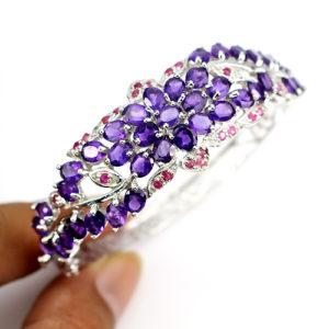 браслет из серебра Аметист-Рубин