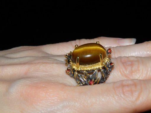 серебряный перстень с тигровым глазом